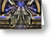 Metro Greeting Cards - Down From A Cloud. Up From The Underground. Greeting Card by Evelina Kremsdorf