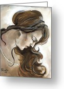 Head Greeting Cards - Down Greeting Card by Jacque Hudson-Roate
