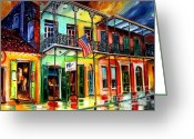 Bourbon Greeting Cards - Down on Bourbon Street Greeting Card by Diane Millsap