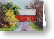 Old Barn Pastels Greeting Cards - Down the County Road Greeting Card by Joyce A Guariglia