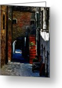 House Pastels Greeting Cards - Down the Street Greeting Card by Stefan Kuhn