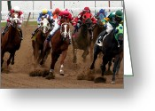 Jockeys Greeting Cards - Down the Stretch Greeting Card by Keith Allen