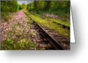 Scenic New England Greeting Cards - Down the tracks Greeting Card by Bill  Wakeley
