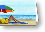 Beach Umbrella Painting Greeting Cards - Down Time Greeting Card by Debbie Brown