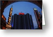 Fremont Street Greeting Cards - Down Town Las Vegas Greeting Card by Susanne Van Hulst