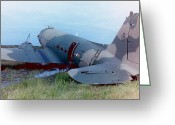 Gunship Greeting Cards - Downed Gunship 1970 Greeting Card by Ross Powell