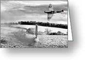 Raf Photo Greeting Cards - Downfall of a 109 black and white version Greeting Card by Gary Eason
