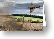 Raf Photo Greeting Cards - Downfall of a 109 colour version Greeting Card by Gary Eason
