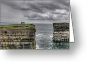 Mayo Greeting Cards - Downpatrick Head lookout tower Greeting Card by Marion Galt