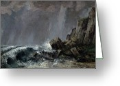 Raining Painting Greeting Cards - Downpour at Etretat  Greeting Card by Gustave Courbet