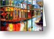 Buildings Painting Greeting Cards - Downpour on Bourbon Street Greeting Card by Diane Millsap