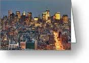 Manhattan Greeting Cards - Downtown At Dusk Greeting Card by Photo by Dan Goldberger