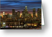 Los Angeles Greeting Cards - Downtown At Dusk Greeting Card by Shabdro Photo