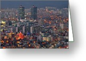 Aerial View Greeting Cards - Downtown At Night In South Korea Greeting Card by Copyright Michael Mellinger