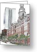 Whittle Greeting Cards - Downtown Greeting Card by Bill Kennedy