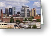 Birmingham Greeting Cards - Downtown Birmingham Skyline Greeting Card by Jeremy Woodhouse