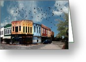 Store Fronts Greeting Cards - Downtown Bryan Texas 360 Panorama Greeting Card by Nikki Marie Smith