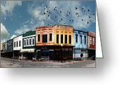 Store Fronts Greeting Cards - Downtown Bryan Texas Panorama 5 to 1 Greeting Card by Nikki Marie Smith