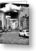 Street Scene Greeting Cards - Downtown Cab ride Greeting Card by John Rizzuto