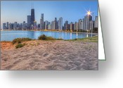 North Shore Greeting Cards - Downtown Chicago from North Beach Greeting Card by Twenty Two North Gallery