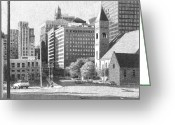 City Scene Drawings Greeting Cards - Downtown Des Moines Greeting Card by Joel Lueck