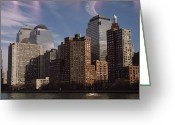 Battery Park Greeting Cards - Downtown Financial District Greeting Card by Justin Guariglia