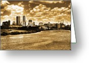 White Digital Art Greeting Cards - Downtown Indianapolis Skyline Dark Toned Greeting Card by David PixelParable