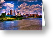 Surreal Landscape Greeting Cards - Downtown Indianapolis Skyline Greeting Card by David PixelParable