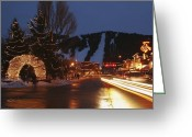 Decoration And Ornament Greeting Cards - Downtown Jackson Hole At Night Greeting Card by Jim Webb