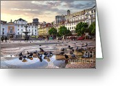 Ancient Architecture Greeting Cards - Downtown Lisbon Greeting Card by Carlos Caetano