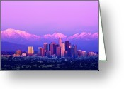 Snow Greeting Cards - Downtown Los Angeles In Winter Greeting Card by Andrew Kennelly