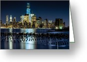 Woolworth Building Greeting Cards - Downtown Manhattan and Old pier remains Greeting Card by Val Black Russian Tourchin