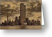 Twin Towers World Trade Center Greeting Cards - Downtown Manhattan Circa Nineteen Seventy Nine  Greeting Card by Chris Lord