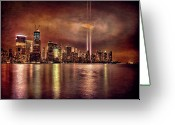 Tribute Greeting Cards - Downtown Manhattan September Eleventh Greeting Card by Chris Lord