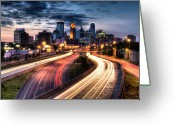 Street Light Greeting Cards - Downtown Minneapolis Skyscrapers Greeting Card by Greg Benz