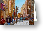 Store Fronts Greeting Cards - Downtown Montreal Paintings Greeting Card by Carole Spandau