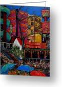 Riverwalk Greeting Cards - Downtown on The River Greeting Card by Patti Schermerhorn