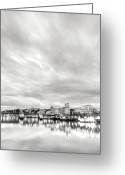 River. Clouds Greeting Cards - Downtown Portland Oregon Willamette River Waterfront Greeting Card by Dustin K Ryan