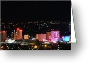 Nv Greeting Cards - Downtown Reno Nevada at Night Greeting Card by Scott McGuire