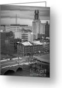 Rochester Ny Greeting Cards - Downtown Rochester Greeting Card by Ken Marsh