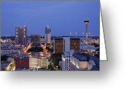 Overhead Greeting Cards - Downtown San Antonio at Night Greeting Card by Jeremy Woodhouse