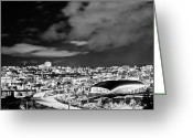 Le May Greeting Cards - Downtown Tacoma BW Greeting Card by Robby Green