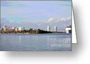 Cruise Ships Greeting Cards - Downtown Tampa with Cruise Ship Greeting Card by Carol Groenen