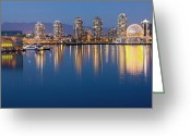 Exterior Buildings Greeting Cards - Downtown Vancouver Across the Water Greeting Card by Bryan Mullennix