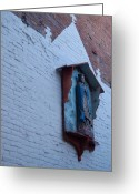 Wood Sculpture Greeting Cards - Downtown Wall Greeting Card by Gabe Arroyo