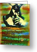 Wall Street Painting Greeting Cards - Dr. Cornel West JUSTICE Greeting Card by Tony B Conscious
