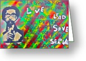 Democrat Painting Greeting Cards - Dr. Cornel West  LOVE THE PEOPLE Greeting Card by Tony B Conscious