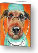 Office Painting Greeting Cards - Dr. Dog Greeting Card by Michelle Hayden-Marsan