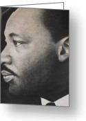 African American Art Drawings Greeting Cards - Dr. Martin Greeting Card by Adrian Pickett