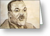 March Drawings Greeting Cards - Dr. Martin Luther King Jr. Greeting Card by Donald William